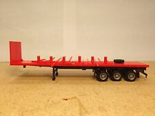 HO 1/87 Promotex/Herpa # 5456 - 45' 3 axle Flatbed Truck Trailer w/stakes - Red