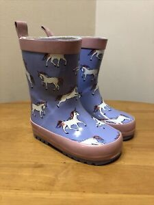 Girls John Lewis Wellington Boots Size 5 Lilac Unicorn Wellies Outdoor Boots