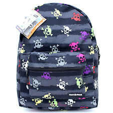 """Colorful Skulls Crossbones All Over Shcool Backpack  Yakpak 16"""" Large Book Bag"""