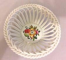 Herend Hungary HandPainted Woven Porcelain Basket Bowl Fruits & Flowers 7371/BFR