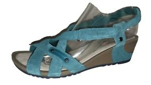 MERRELL Shoes Women's Size 9 Dragonfly Teal Suede REVALLI Link Wedge Sandals
