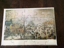 Vintage Puzzle Postcard Hendrick Avercamp Winter Landscape Ice skaters NIP