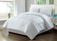 (California) Cal King Size Solid White Double-Needle Pinch Pleat Comforter Set