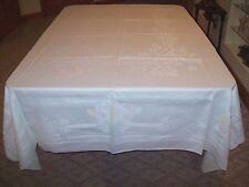 Vintage Damask Linen Tablecloth with Pastel Floral Accents