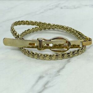 Gold Faux Leather Skinny Belt Size XXS 22