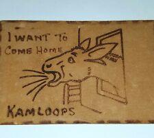 1906 LEATHER POSTCARD KAMLOOPS DONKEY FOLK ART CRAFTS LEATHERWORK AMERICAN FARM
