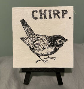 """Rae Dunn Inspired Oil Painting On Canvas(4"""" x 4"""") """"Chirp"""", One Of A Kind!"""
