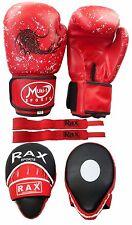 PASTIGLIE FOCUS curvi con Guantoni Da Boxe Gancio E Jab Pugno Borsa Kick MMA Hand Wraps