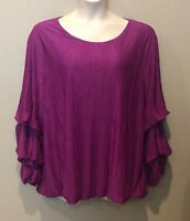 Alfani Women's Fuchsia Textured Bubble Sleeve Scoop Neck Top Plus Sizes 2X/3X