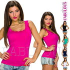 Sexy Women's Ladies Singlet Summer Top Lace Trim Party Casual Size 10 12 M L