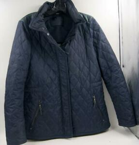 Coach Navy Blue Women's Quilted Jacket With Rain Hoodie Sz Small