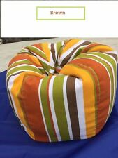 Stuffed Animal Storage Bean Bag Chair - premium quality canvas brown stripe