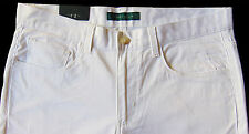 Men's PERRY ELLIS White Cotton + Jean-Style Pants Tagged 36x32 NWT NEW Slim Fit