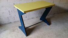 Table - bureau - console - vintage - design - Esprit Memphis - jaune / bleu