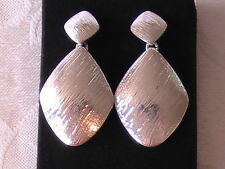 "Avon Bold Metals Geometric Double Drop Earrings Silver Tone In Box 1 5/8"" Long!"