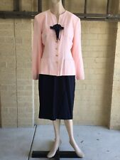 Vintage Anthea Crawford 2 Piece Wool Crepe Jacket Pencil Skirt Suit