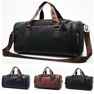 MensTote Bag Large Capacity Luggage Leather Travel Shoulder Bag Duffle Gym Bags