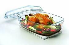 Borcam Quality Rectangular Casserole Bakeware with Lid Glass Oven Dish Ovenware