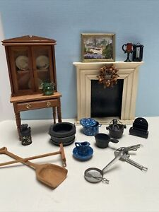 Vintage Primitive Artisan Fireplace Hutch Mailbox Cast Iron Dollhouse Miniatures