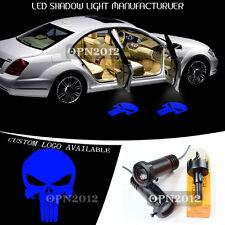 Blue Punisher Logo Step LED Laser Car Projector Ghost Shdow Light Welcome Lamp