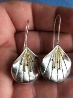 Beautiful Art Nouveau Style 925 Silver Stylized Flower Drop Earrings