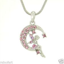 "Tinkerbell On Moon Made With Swarovski Crystal Pink Pendant Necklace 18"" Chain"
