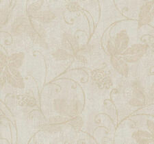 Ronald Redding Taupe Scrolling Vines & Leaves on Silver Crackle Wallpaper TA7046