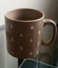 Vintage FPC England Coffee Cup Mug Light Brown with White Flowers. EUC.