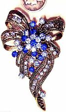 BROOCH Victorian Antique Blue Forget Me Not Remembrance Pin Sparkling Wildflower