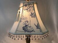 """Vtg Toile Lamp Shade Blue White Victorian French Country Beaded Fringe 12""""x10x5"""""""
