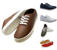 Mens Lace Up Casual Canvas Shoes Plimsolls Pumps Skates Trainers Size 6-11