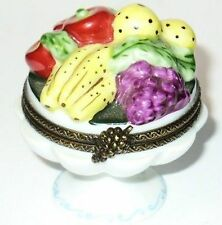 Limoges France Box ~ Fruit Bowl ~ Bananas ~ Apples ~ Grapes ~ Pears ~Peint Main