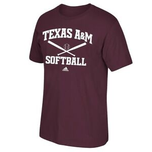 """Texas A&M Aggies NCAA Adidas """"Softball"""" Graphic Men's Maroon T-Shirt"""