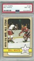 1972 Topps NHL hockey card #128 Bill White, Chicago Blackhawks graded PSA 8