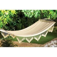 Cloth Cotton Canvas handwoven Hammock chic Crochet  fringe shabby Garden Swing