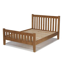 Rustic Oak King Size Bed (5') Bedroom Frame Solid Wood Furniture