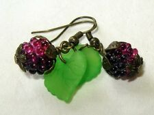 SWEET Blackberry Earrings Bright Green Leaves Pretty Nature Lover Gift