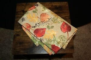 """Food Network 60""""x 102"""" Oblong Tablecloth Fall Theme Khaki Leaves Brick Red Green"""
