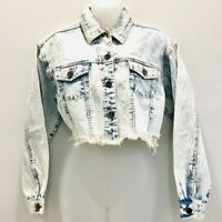 GB Womens Cropped Jean Jacket Blue Short Buttons Distressed Pockets Acid Wash S