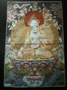 Exquisite Tibet Tibetan Buddhist Silk Inwrought Buddha Guanyin Thangka a01