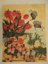 Honey Bees, Red Tulip Flowers & White Daisies, Yellow, decorative Garden flag