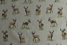 Stags And Dears  Country Side Animals Linen Look Fabric