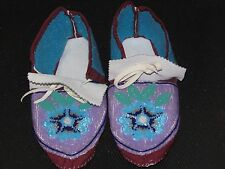 AMAZING FULL BEAD MOOSE HIDE MOCCASINS 10 INCHES LONG GLEAMING BLUE FLOWER GREN