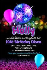 Personalised Birthday Invitations Disco Party x 5