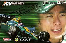 2010 TAKUMA SATO signed INDINANAPOLIS 500 PHOTO CARD POSTCARD INDY CAR LOTUS BLA