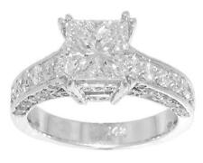 3.40ct Ladies Princess Cut Diamond Engagement Ring High Quality Diamond Platinum