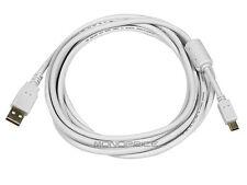10ft USB 2.0 A Male to Mini-B 5pin Male  Cable w/ Ferrite Core White 8635