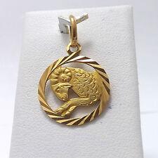18K Yellow Gold Aries Ram Zodiac Charm Pendant 2.3Gr