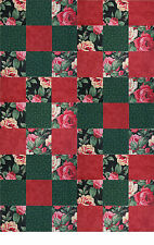 """54  4"""" Squares  Red Roses  Quilt Kit   Nine Patch   Ready to sew   20"""" X 30"""""""