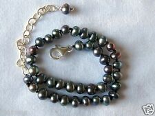 "Black & Gray Freshwater Seed Pearl & Sterling Silver Ankle Bracelet 8""-10"""